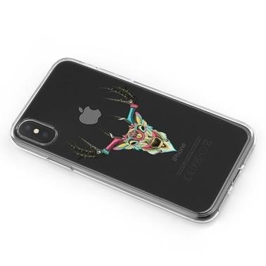 Lopard iPhone Xs Max Kılıf Silikon Arka Koruma Kapak Renkli Geyik Desenli Renkli